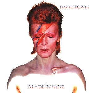 Aladdin Sane album cover, which I had on my bedroom in the late 90s and which terrified my cat.